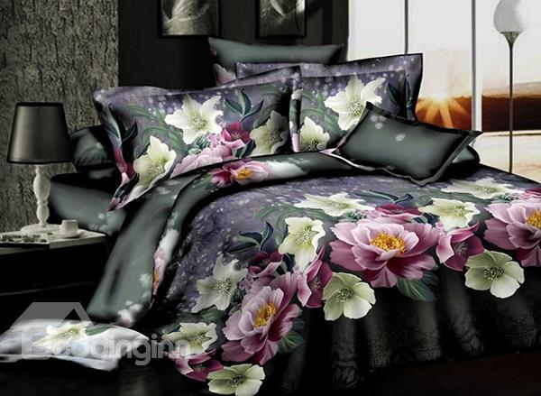 Elegant Flower With Black Background 4-Piece Polyester Duvet Cover Sets