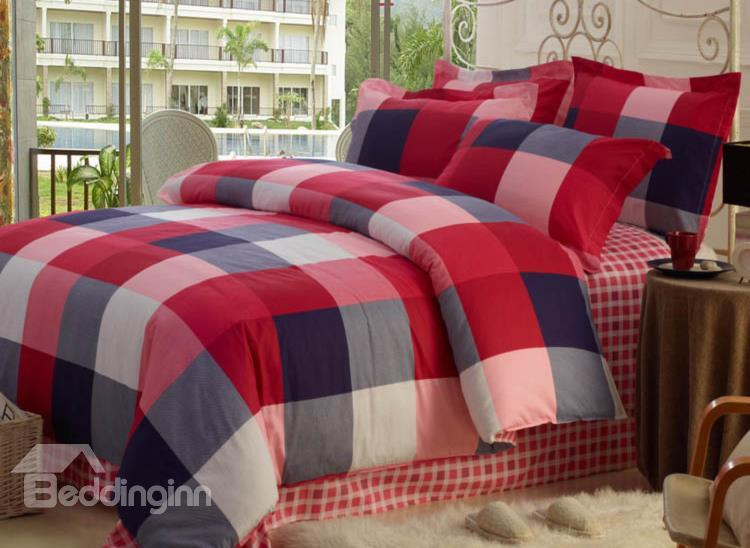 High Quality 100%Cotton Checked 4 Piece Bedding Sets