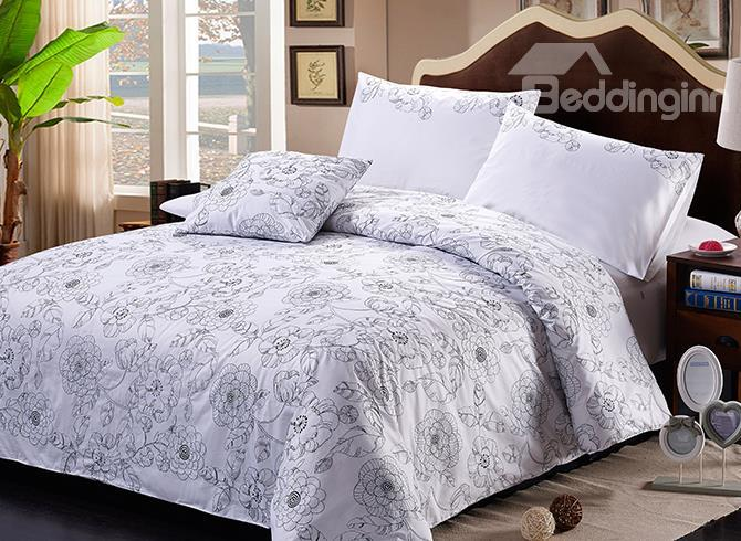 New Arrival Embroidered Flowers Cotton Duvet Cover Sets