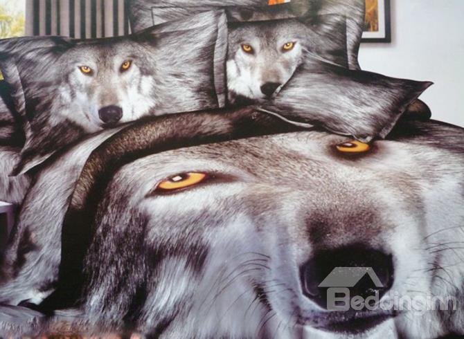 High Quility Total Gray Wolf Head Print 3d Duvet Cover Sets