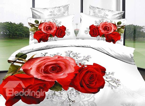 Red Rose With Pure White Background 4-Piece Cotton Duvet Cover Sets