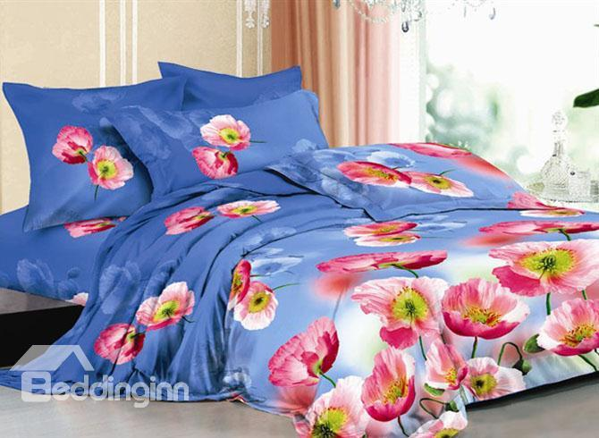 Light Blue Bedding Sets With Pink Flowers Printed 10489524)