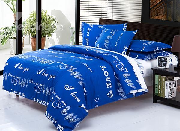 Romantic Love Pattern 4-Piece Polyester Duvet Cover Sets