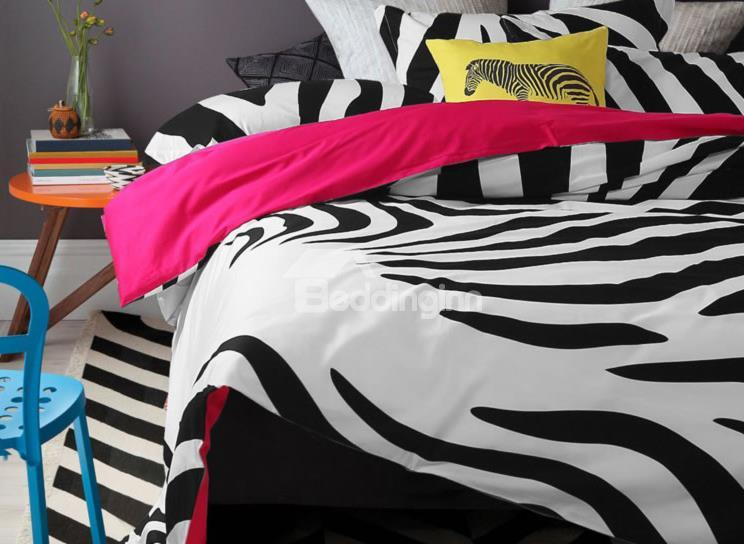 New Arrival 100%Cartoon Active Print Zebra Pink 4 Piece Bedding Sets/Duvet Cover Sets