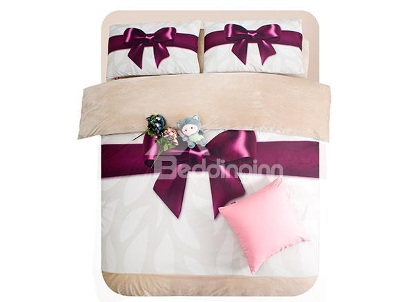 Christmas Gift Dark Purple Bow Tie Ribbon Print 4-Piece Coral Fleece Duvet Cover Sets