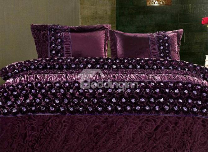 Purple Story Super Soft Suede Skincare 4 Piece Bedding Sets