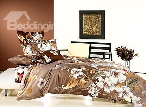Charming White Flower Print 4-Piece Cotton Duvet Cover Sets
