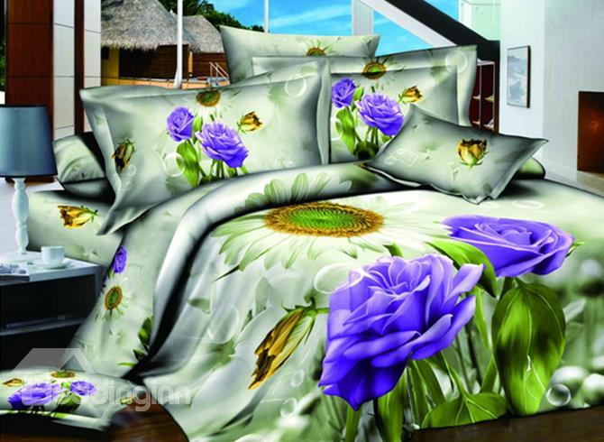 Hot Sell High Quality Enchanting Love Of Sunflower And Blue Rose 4 Pieces Bedding Sets