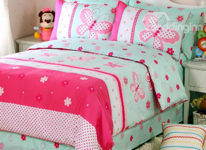 So Pretty Pink Butterfly Print 4-Piece Cotton Duvet Cover Sets