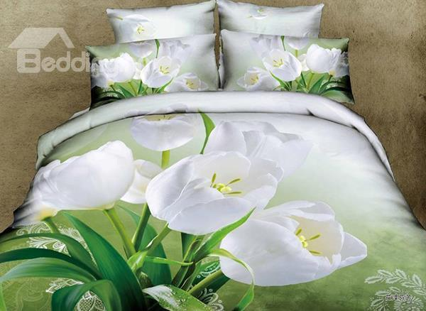 Elegant White Flower Print 4-Piece Cotton Duvet Cover Sets