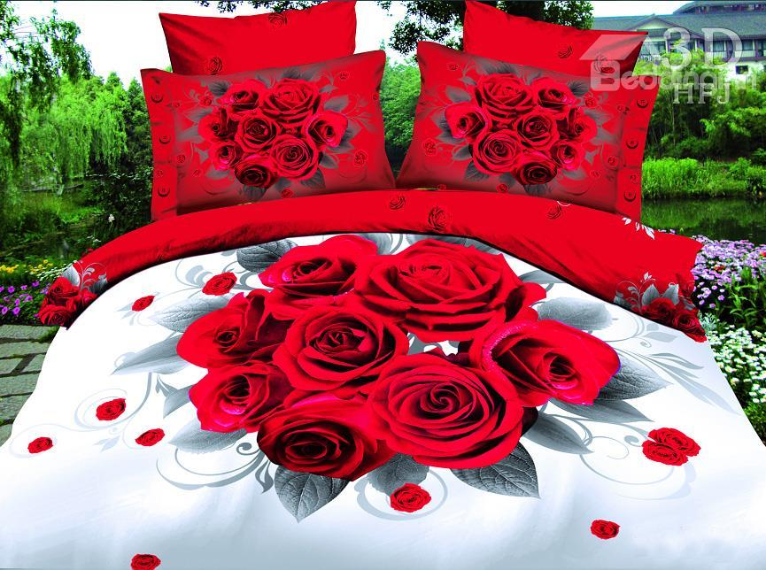 New Arrival High Quality A Bunch Of Fire-Like Roses Print 4 Piece Polyester Bedding Sets/Duvet Cover Sets