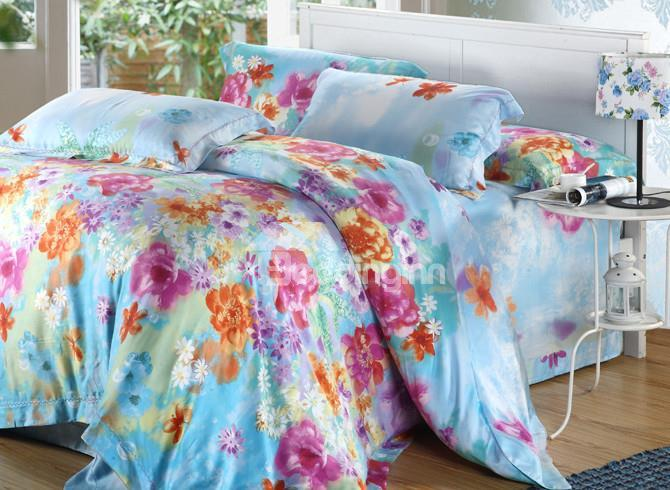 High Quality Comfortable Pastoral Gorgeous Floral Patterns 4 Pieces Tencel Bedding Sets
