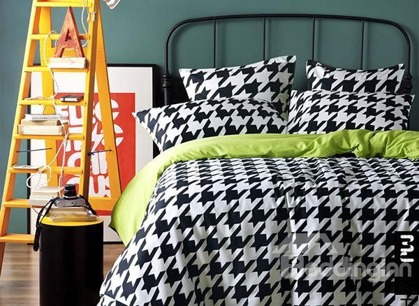 Black And White Houndstooth Print 4-Piece 100%Cotton Duvet Cover Sets