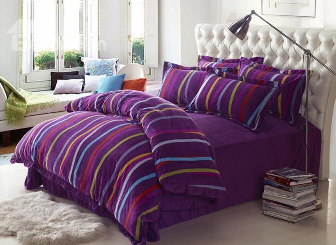 Colorful Stripes Print Purple Comfortable Sandedcloth Material 4 Piece Bedding Sets