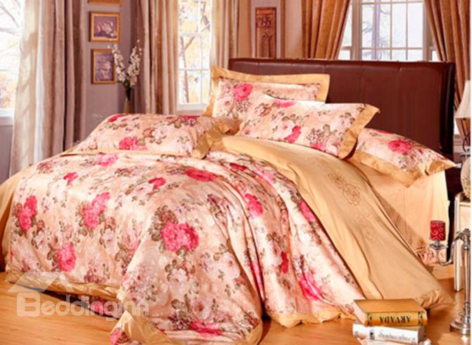 Fabulous Red Flowers Print 100%Cotton 4-Piece Duvet Cover Sets