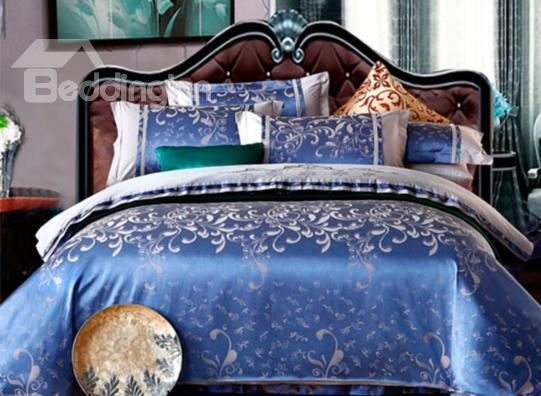 Luxury Solid Blue Floral 100%Cotton 4-Piece Duvet Cover Sets