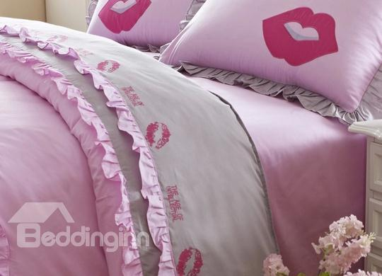 100%Cotton Fashion Red Lip Embroidery Pink 4 Piece Bedding Sets
