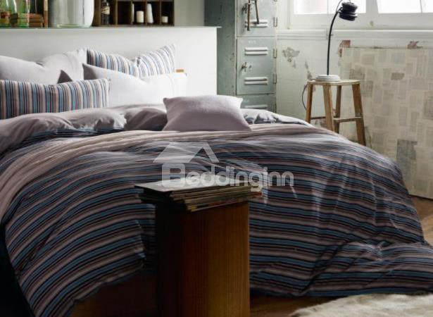 New Arrival Elegant Blue Color Pinstripe Print Kintting Cotton Bedding Sets With Fitted Sheet