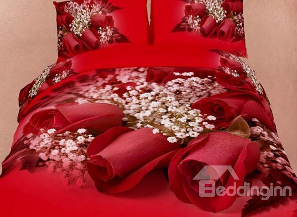 Red Rose And White Flower Print 4-Piece Cotton Duvet Cover Sets